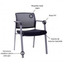 silla de visita con brazos