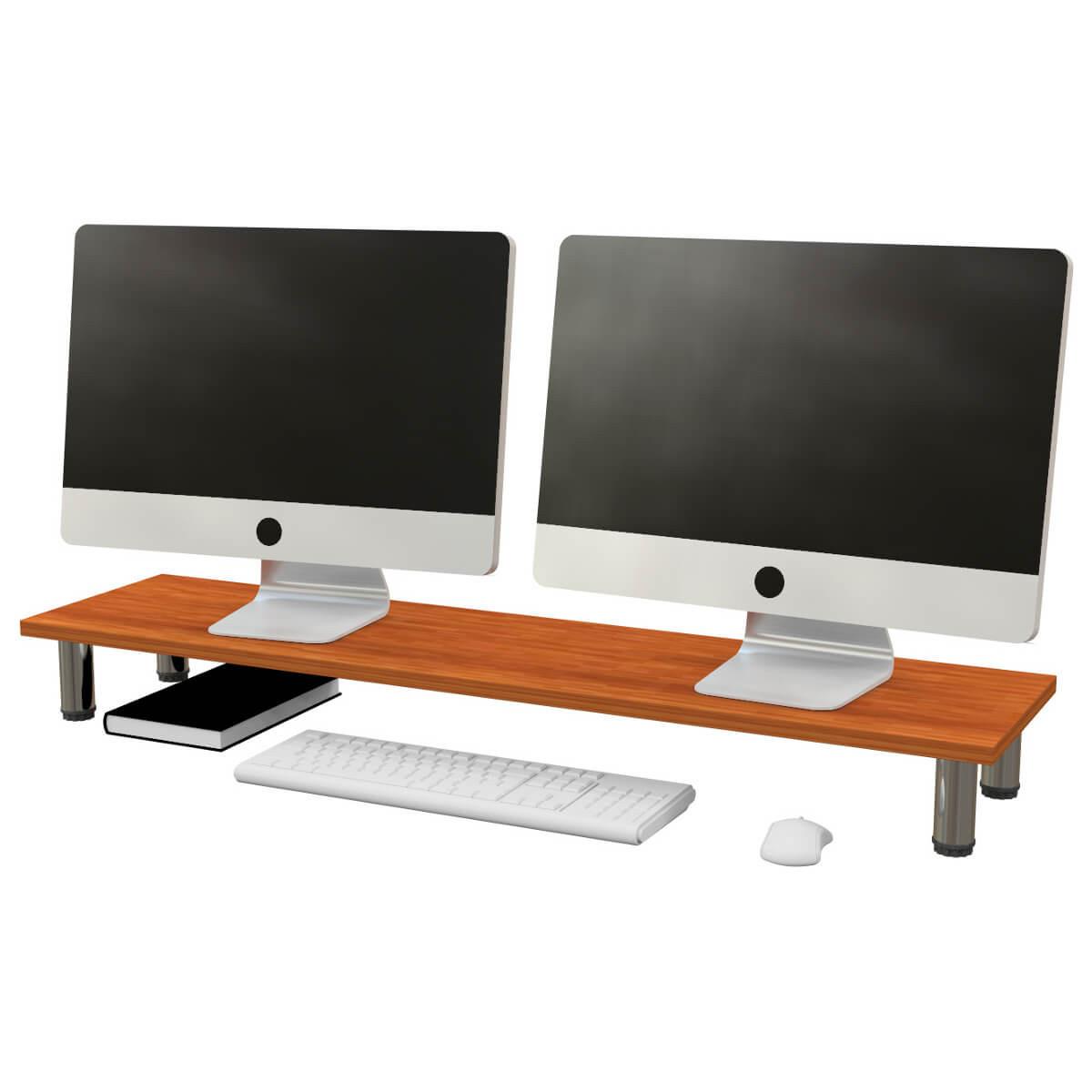 soporte monitor escritorio madera