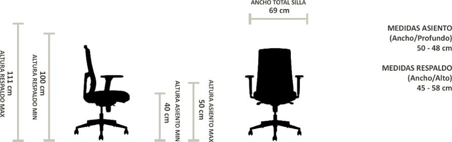 Silla ergonómica tela