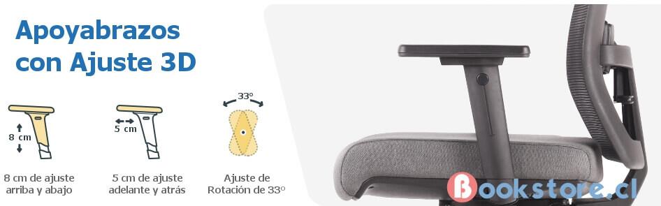 Apoyabrazos 3D silla ergonómica